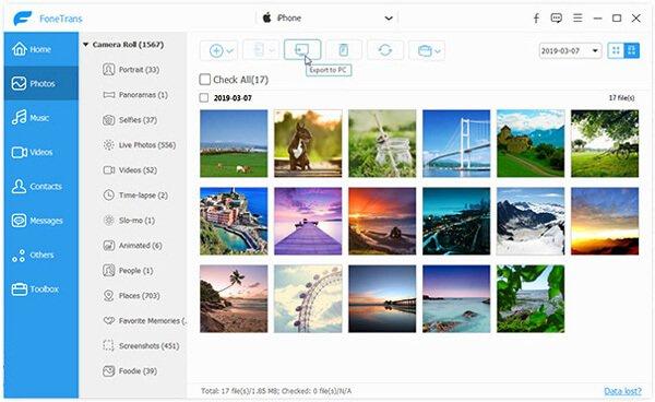 Foto da iPhone a PC