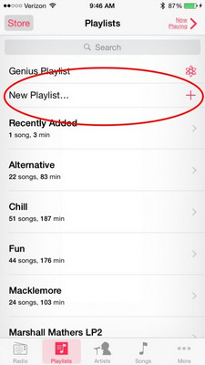 Crea playlist su iPhone