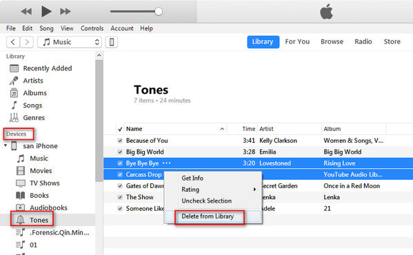 Elimina suonerie iPhone con iTunes