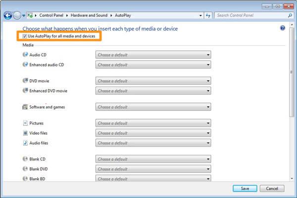 Ενεργοποίηση αυτόματης αναπαραγωγής σε υπολογιστή με Windows