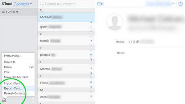 Eksportuj kontakty z iCloud do komputera