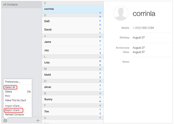 Export iPhone Contacts to vCard from iCloud