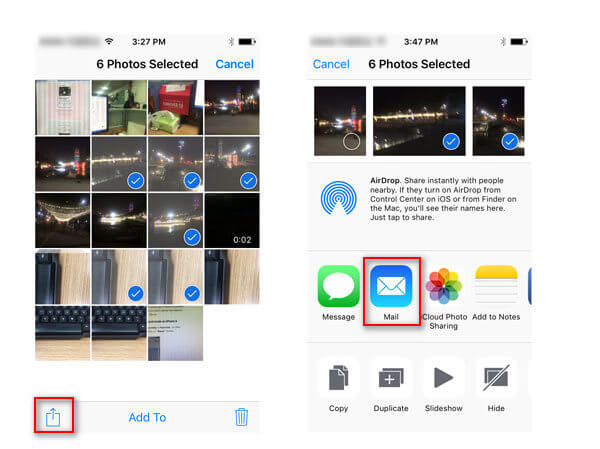 get off iPhone photos with Email