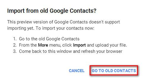 Go to old contacts
