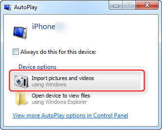 Importa foto da iPhone a PC direttamente su Windows 7