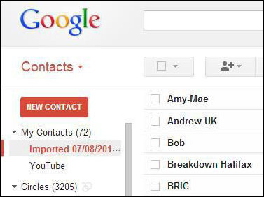 Imported Contacts on Gmail