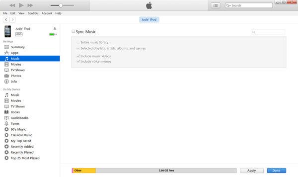 Kliknij kartę iTunes Music