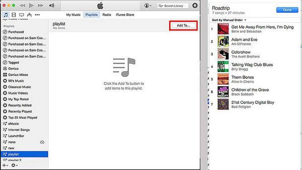 Dodaj utwory do nowej listy odtwarzania iTunes