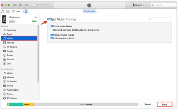 Metti la musica su iPod