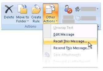Richiama questo messaggio in Outlook 2007