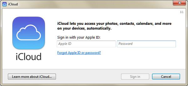 Accedi all'account iCloud