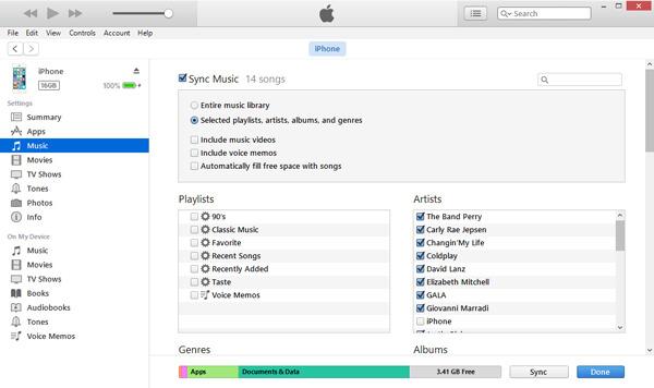 Zsynchronizuj wybraną muzykę z iTunes, aby zastąpić bieżącą muzykę z iPhone'a