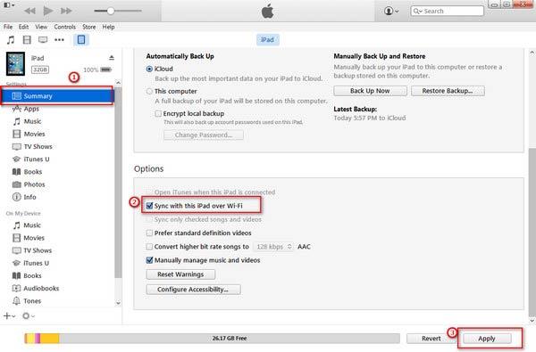 Abilita la sincronizzazione del tuo iPad con iTunes in modalità wireless