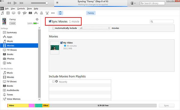 Umieść filmy na iPhonie za pomocą iTunes