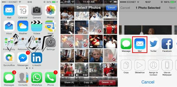 Użyj e-maila, aby przenieść iPhone Photo na komputer