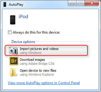 Transfer Photos from iPod to Computer using AutoPlay