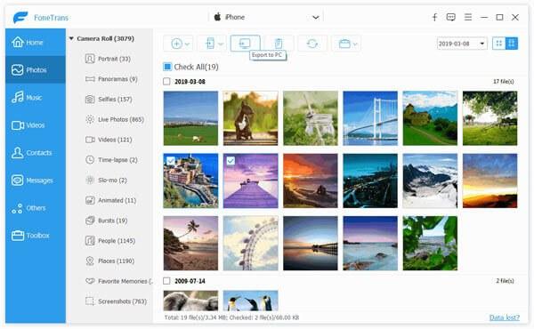 Esporta le foto sul computer