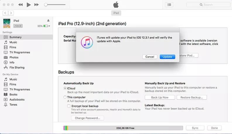 Esegui il downgrade di iOS con iTunes