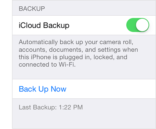 Zálohujte pomocí iCloud
