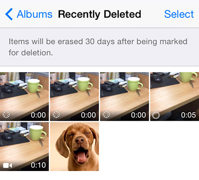 recently deleted photo in iOS 8