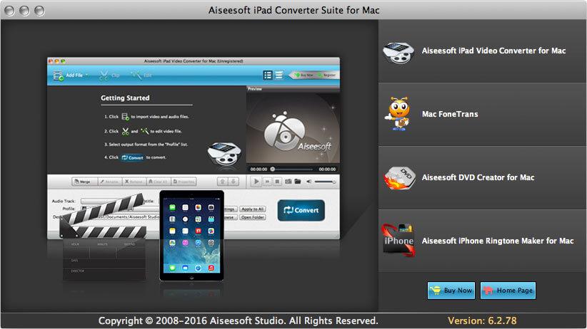 Aiseesoft iPad Converter Suite for Mac full screenshot
