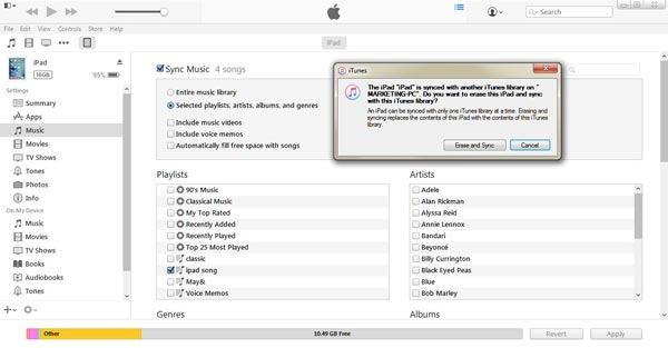 Sync iTunes music to iPad