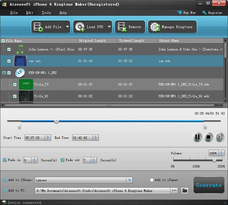 Windows 7 Aiseesoft iPhone 4 Ringtone Maker 6.1.26 full