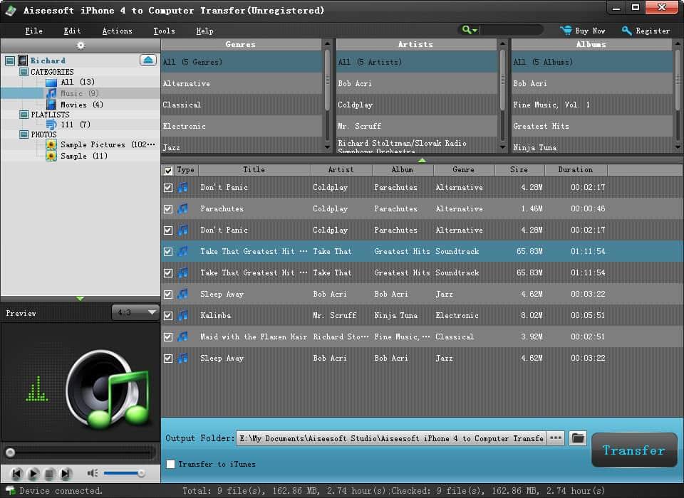 Aiseesoft iPhone 4 to Computer Transfer screenshot