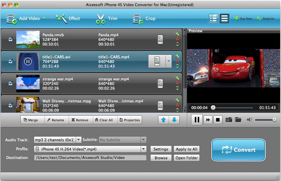Aiseesoft Mac iPhone 4S Video Converter Screen shot