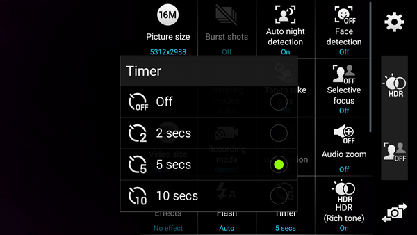 Select Time Duration on Android Camera Self-timer