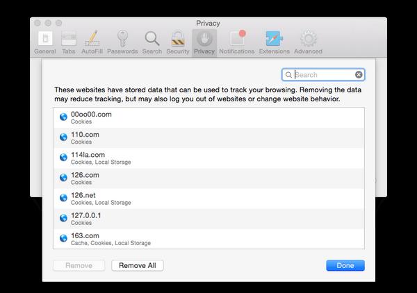 Cancella cookie direttamente su Mac