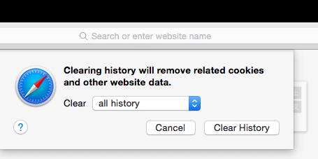 Cancella la cronologia di Safari
