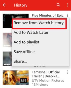 Clear YouTube History on Mobile Site