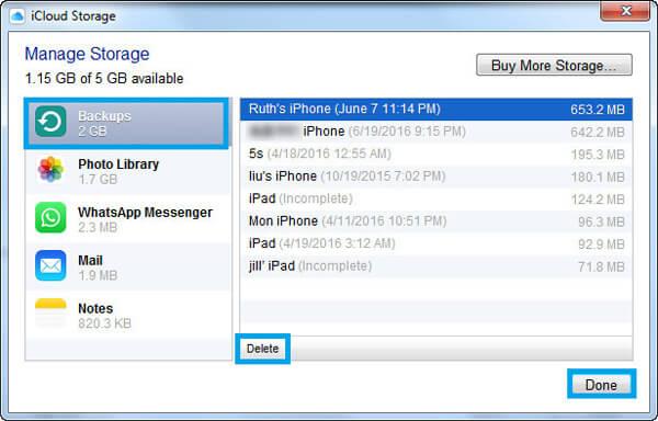 Usuń kopię zapasową iCloud na komputerze z systemem Windows