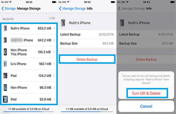 Usuń kopię zapasową iCloud na iPhonie