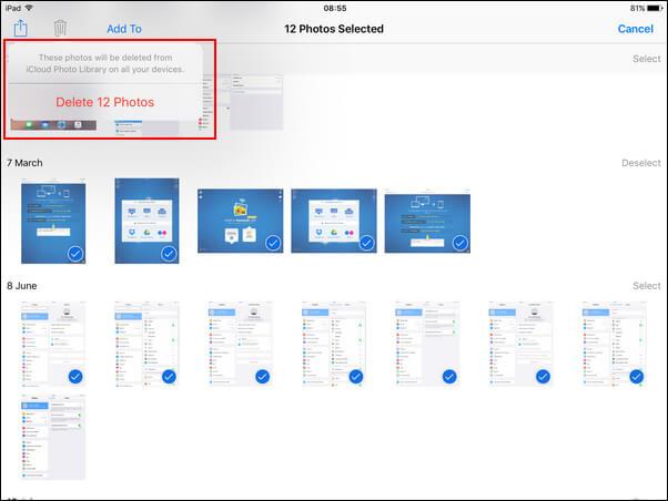 Διαγραφή φωτογραφιών από το iPad Camera Roll