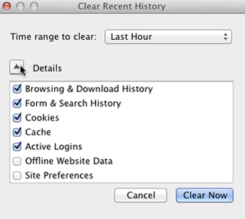 Cancella cronologia di Firefox