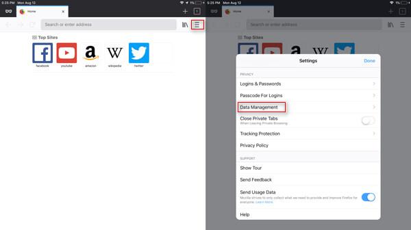 Ανοίξτε τις Ρυθμίσεις Firefox στο iPad