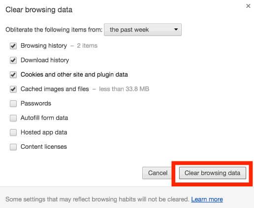 Cancella cronologia di Chrome
