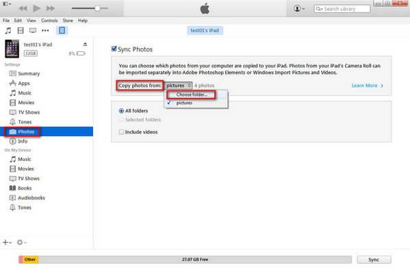 Συγχρονισμός φωτογραφιών από το iTunes πριν από τη διαγραφή φωτογραφιών από το iPad
