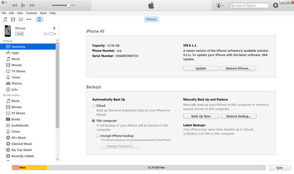 Backup di iPhone su iTunes