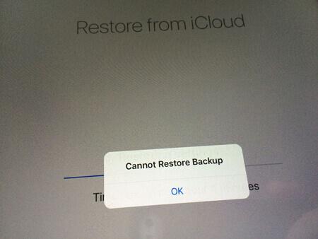 Impossibile ripristinare il backup iCloud