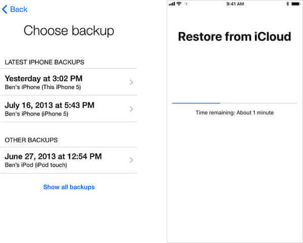 Choose iCloud Backup for iPhone Text Message Recovery