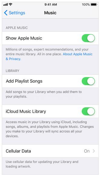 Włącz bibliotekę muzyczną iCloud