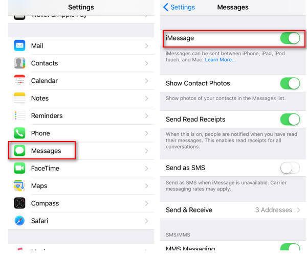 iPhone iMessage attivato