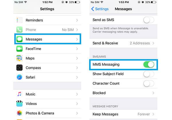 Włącz MMS Messaging, aby naprawić iPhone nie będzie wysyłał zdjęć