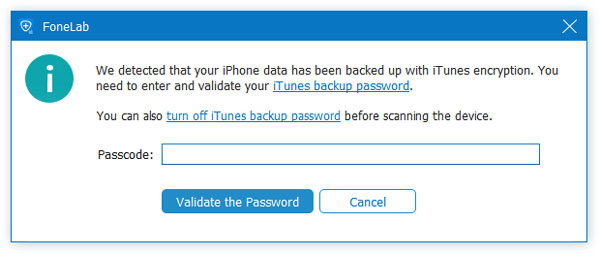Inserisci la password di backup di iTunes