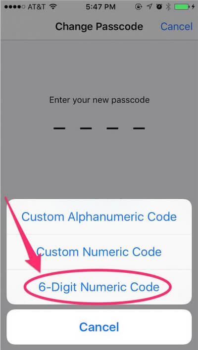 Εισαγάγετε νέο κωδικό πρόσβασης iPhone