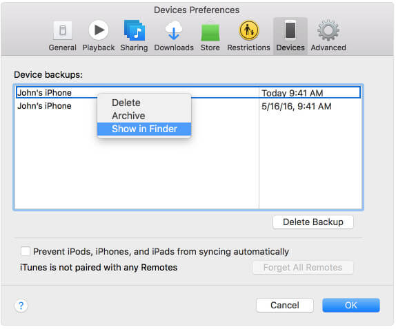 Check iPhone Backup  on iTunes