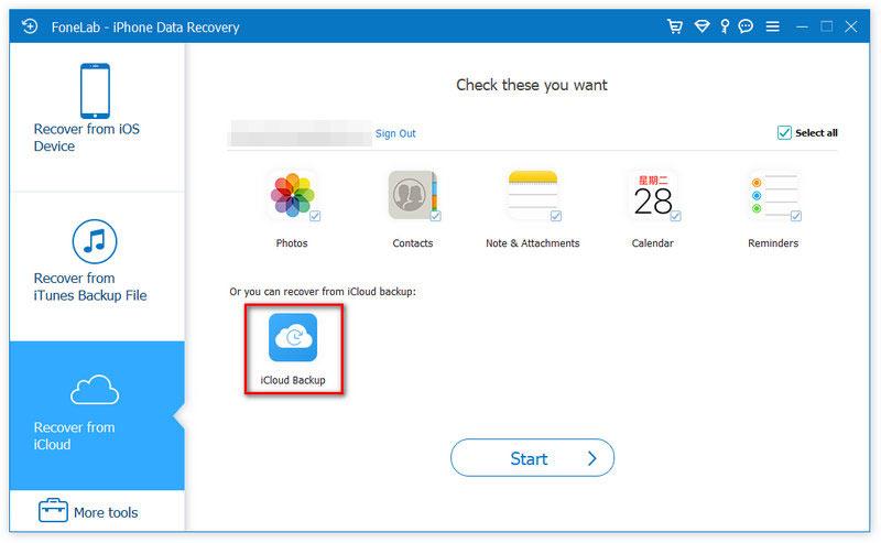 Fonelab Scan iCloud Backup